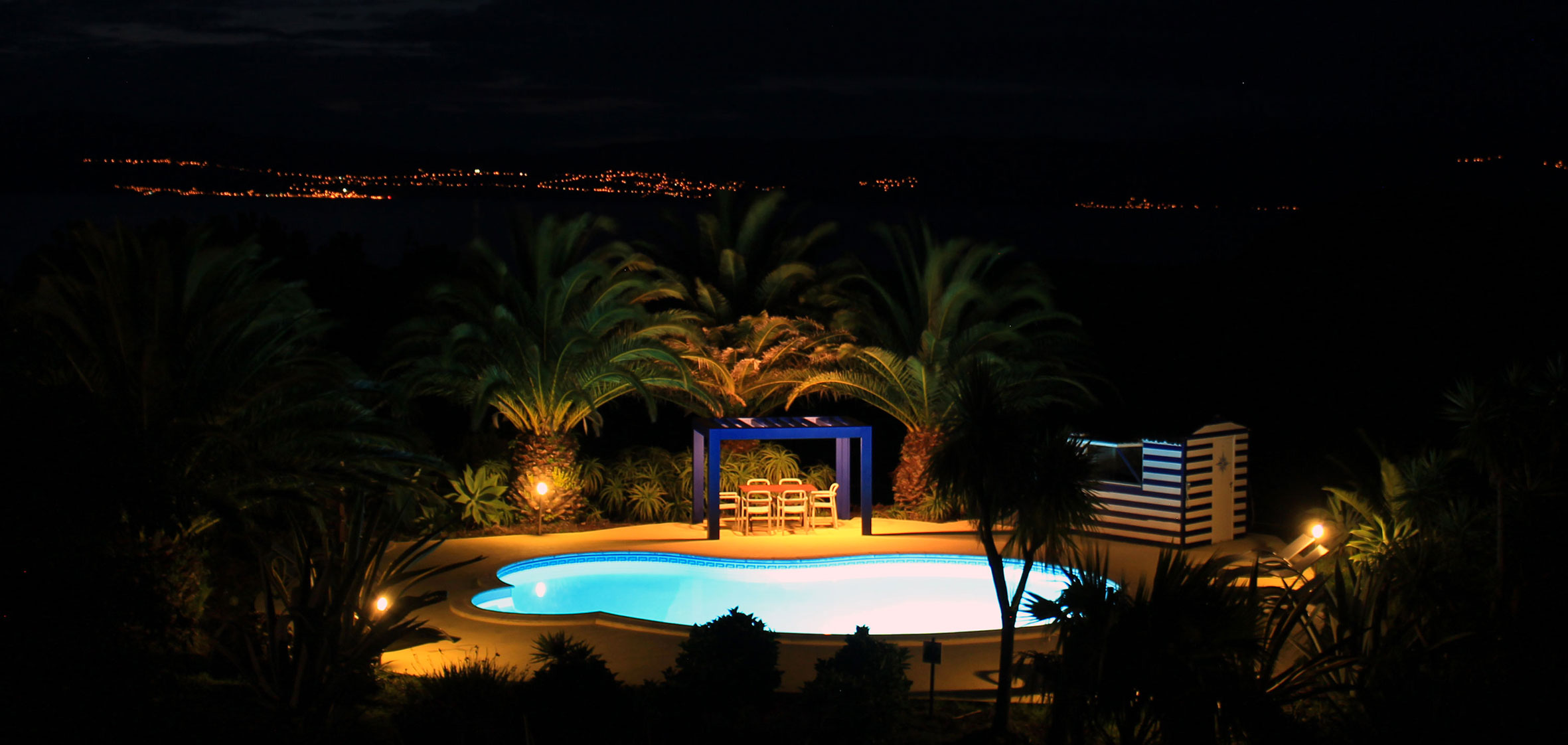 Pool at night with Sao Jorge in background